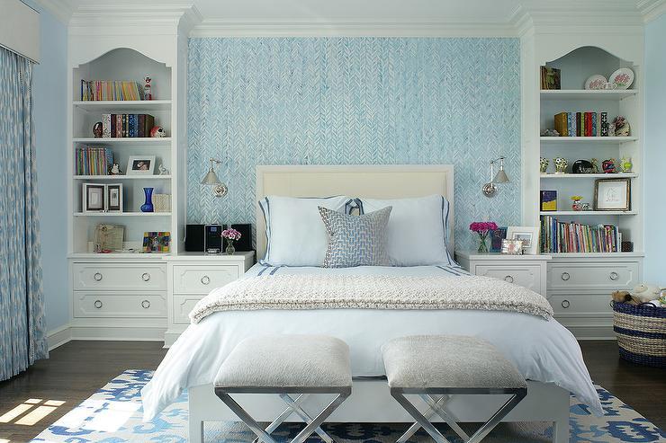 Blue Bedroom with Cream Headboard - Transitional - Bedroom