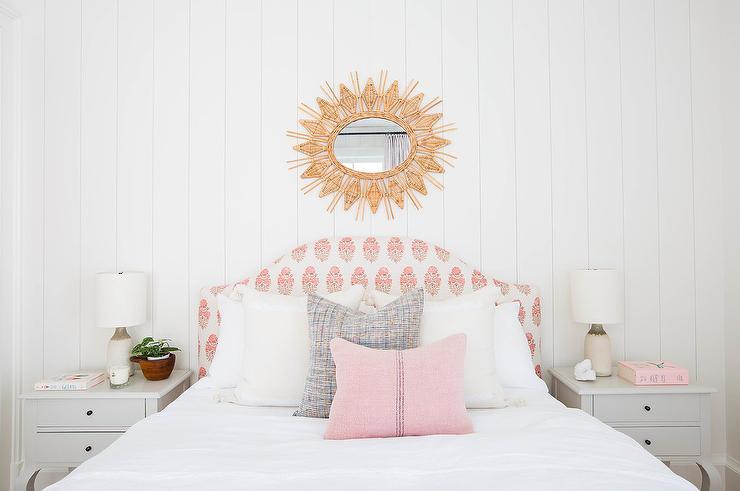 pretty nice 3a7d9 5a0cf Woven Sunburst Mirror Over Pink Block Print Headboard ...