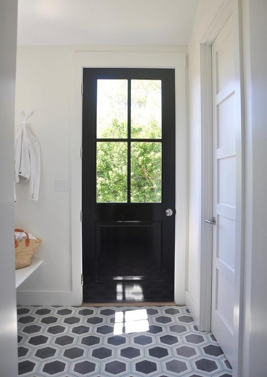 Glossy black mudroom door cottage laundry room for Mudroom floor