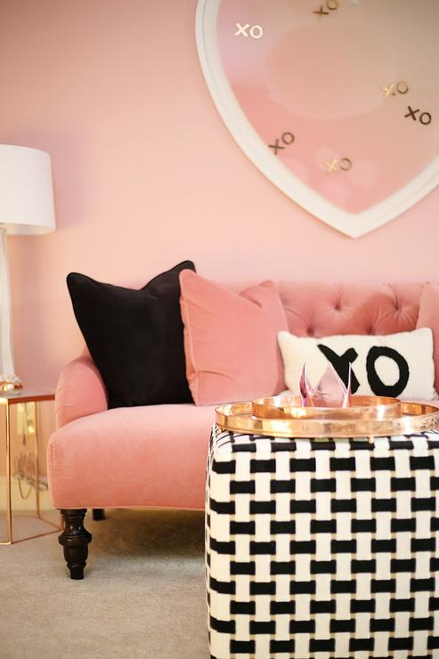 Pink Sofa with Marble and Brass Hex End Table - Contemporary ...