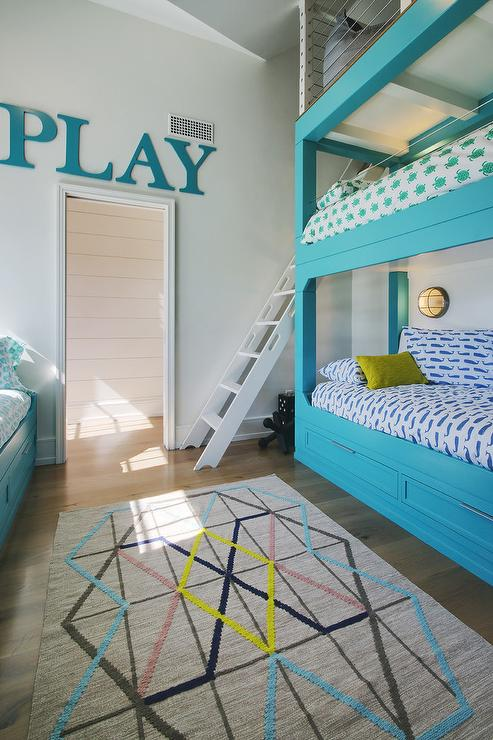 Blue Fish Themed Boys Bedroom With Gray Wash Bunk Beds
