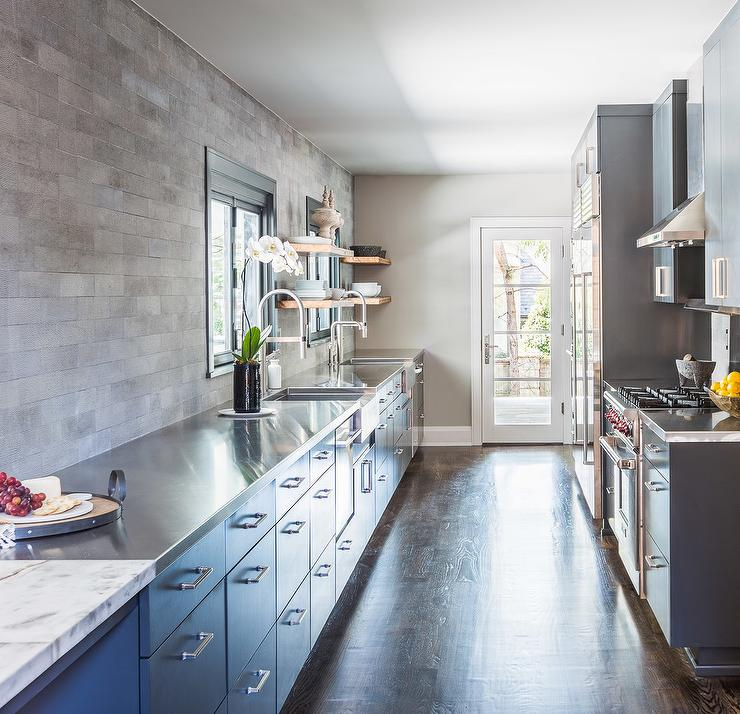 Grey Industrial Kitchen: Alyssa Rosenheck: Dark Gray Industrial Cabinets With