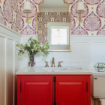 Blood Red Bath Vanity Design Ideas