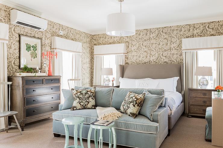 Dove Gray Art Deco Bed With Cream Mirrored Dressers