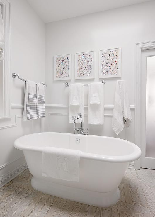 Gray Malin Art Over Roll Top Bathtub Transitional Bathroom
