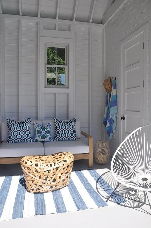 Teak Outdoor Sofa with Blue Cushions and Green and Blue  : white wicker pod chair from www.decorpad.com size 491 x 740 jpeg 60kB