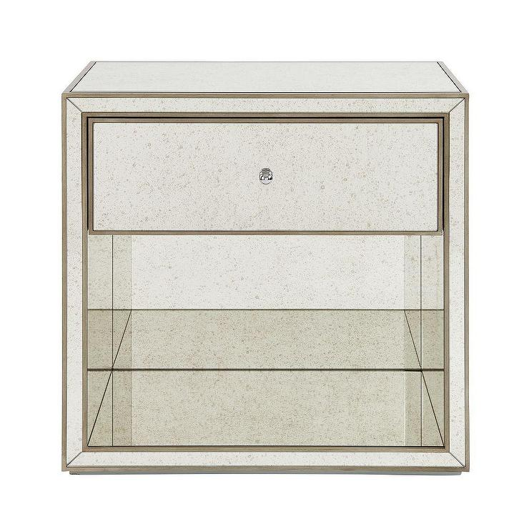 staggered p mirrored asp side table