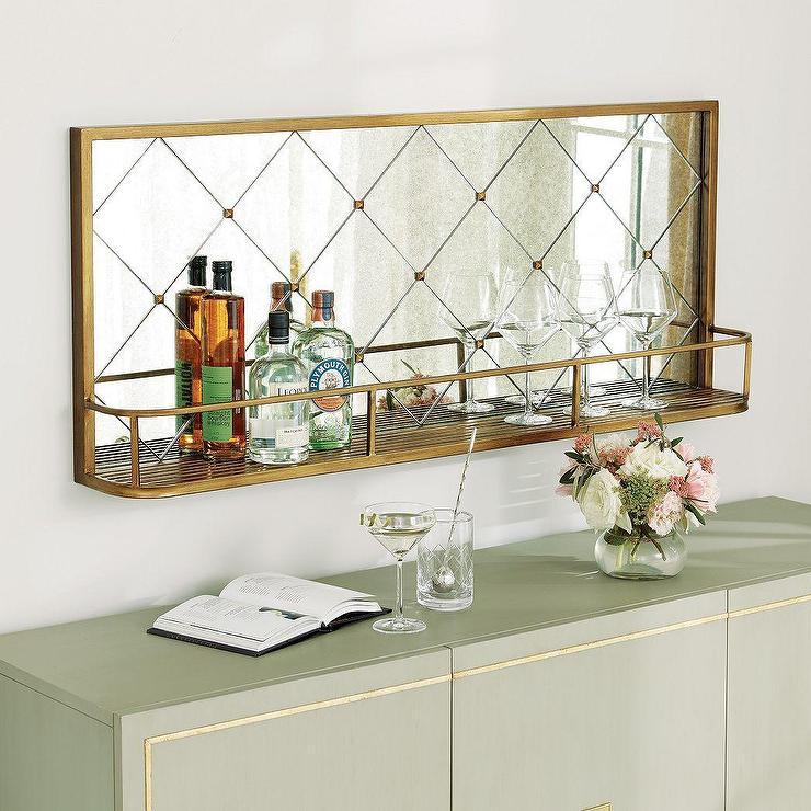 Wilshire Gold Diamond Mirrored Bar