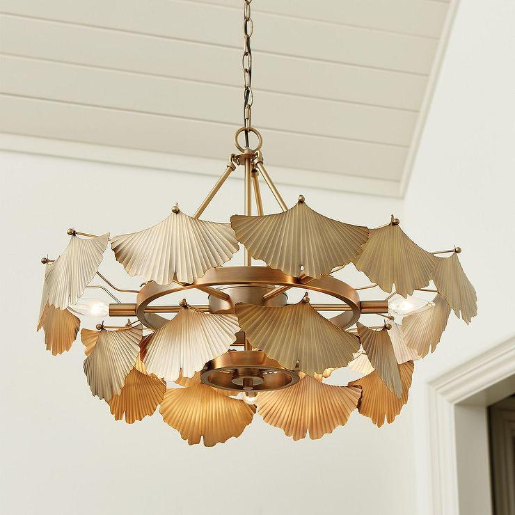 Aberdeen 9 Light Gold Leaf Fan Chandelier
