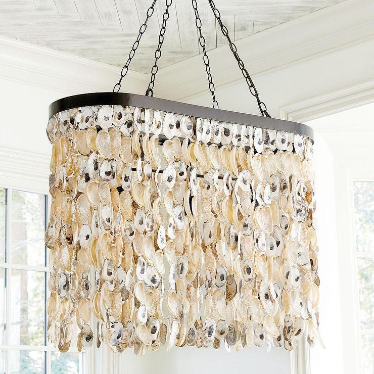 White hanging oyster shells chandelier oval oyster shells drape chandelier aloadofball Image collections