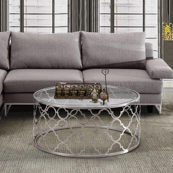 Florence Round Silver Quatrefoil Coffee Table