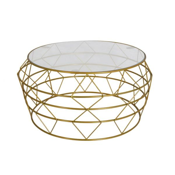 Gold Metal Round Coffee Table.Studio Round Gold Metal Coffee Table