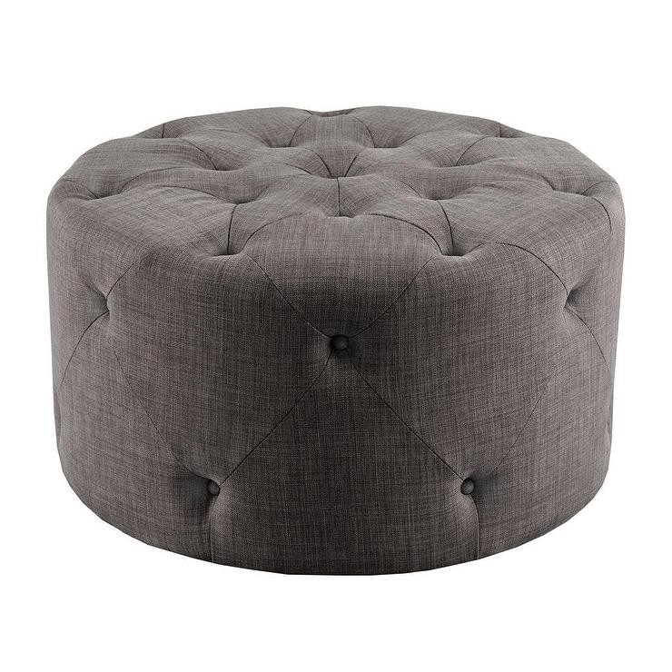 Threshold Round Tufted Grey Storage Ottoman