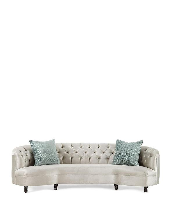 Curved Ivory Tufted Sofa