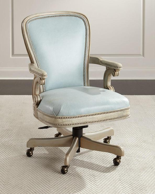 massoud lilly blue leather office chair