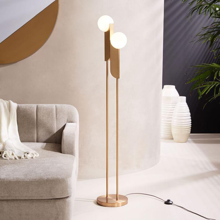 Bower gold globes led floor lamp for Gold globe floor lamp