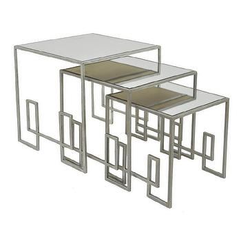 Three Hands Silver Mirror Nesting Tables