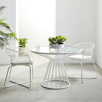 Soleil White Metal Outdoor Dining Table