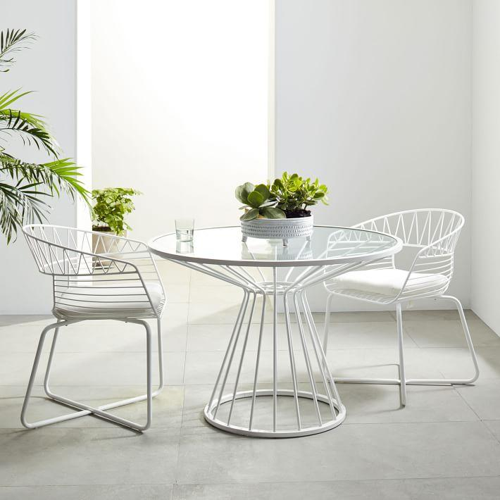 Soleil White Metal Outdoor Dining Table - White metal outdoor dining table