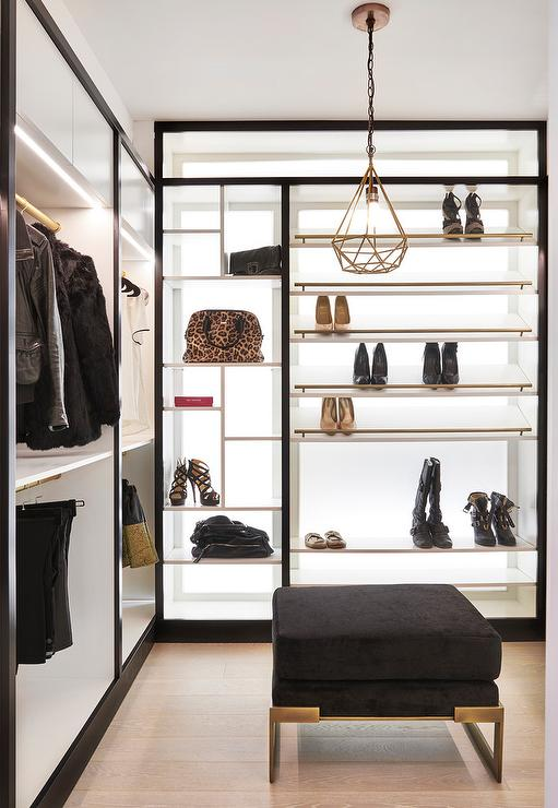 White Walk In Closet glam black and white walk in closet - transitional - closet