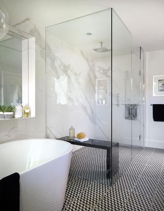 White And Black Modern Master Bathroom