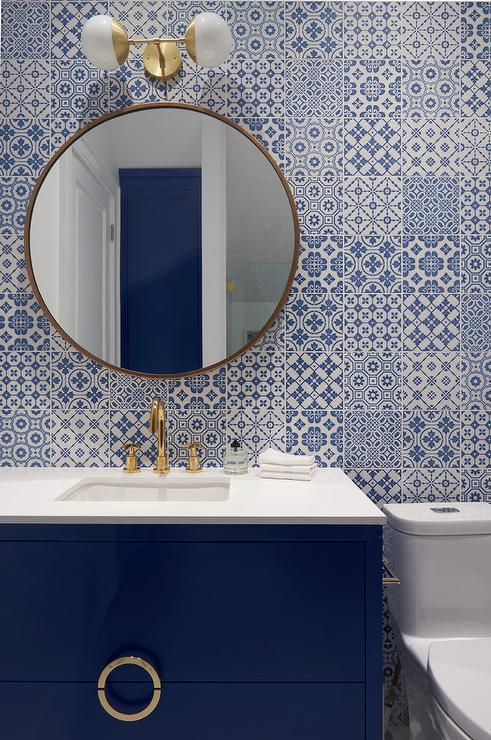 Blue Bath Vanity With Mosaic Tiles