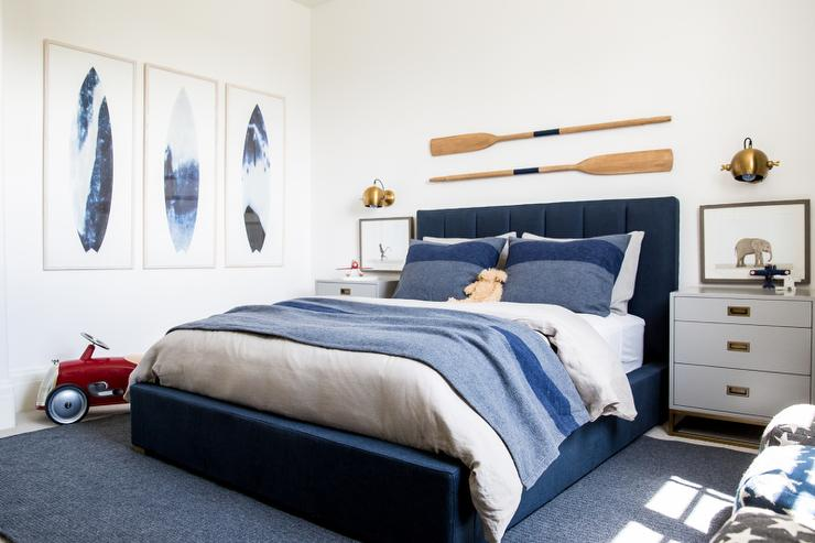 RH Baby   Child Abstract Surfboard Prints create a statement in a blue and  gray boys room with beach theme decor in cooler tones. Boys Surf Bedroom Decor Design Ideas