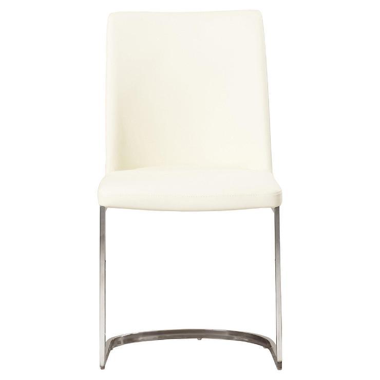 Farranacushog Cream Leather Steel Side Chair
