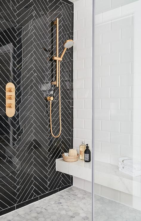 Attractive Glossy Black Herringbone Shower Tiles