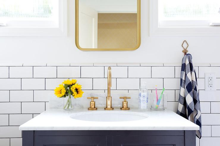 Blue Kid Washstand With Brass Mirror Transitional Bathroom