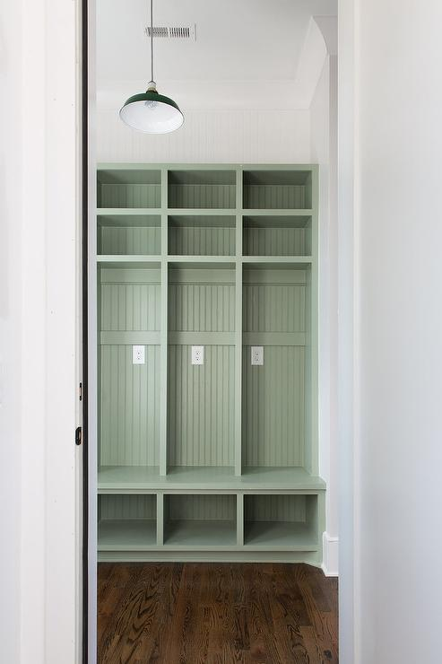 Beadboard Shelves Part - 44: Green Beadboard Shelves Deliver A Vintage Lockers Style To A Custom Mudroom.