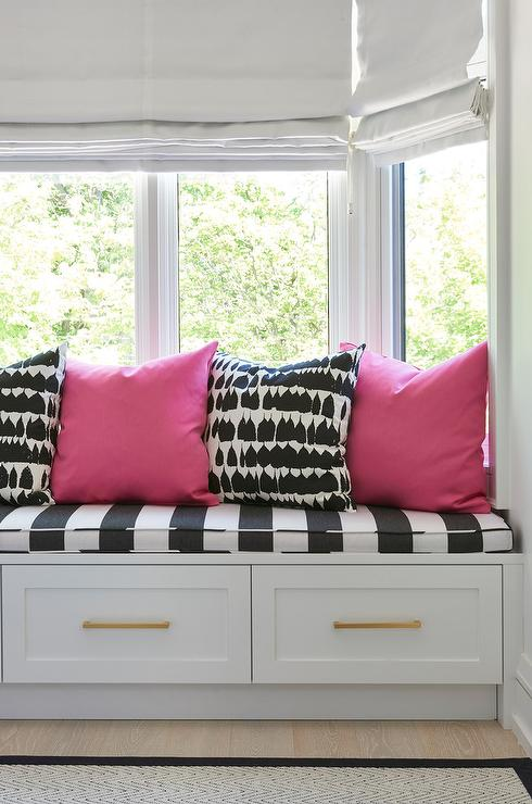 hot pink and black window seat pillows