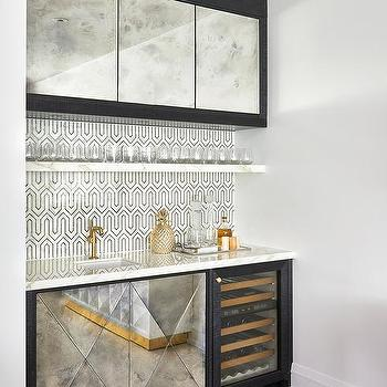 wet bar lighting. black and white wet bar with antiqued mirrored cabinets lighting