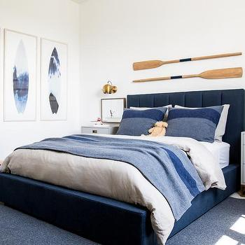 Awesome Blue And Gray Boy Room With Blue Surfboard Art