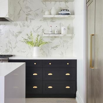 Black Kitchen Cabinets With Polished Brass Cup Pulls
