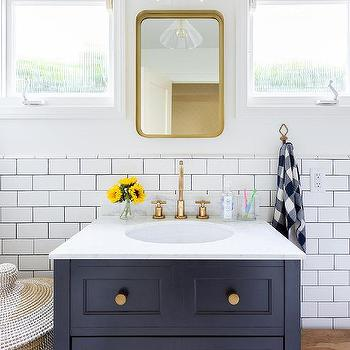 Blue Kid Washstand with Brass Mirror & Tan and Blue Kids Bathroom with Step Stool - Cottage - Bathroom islam-shia.org