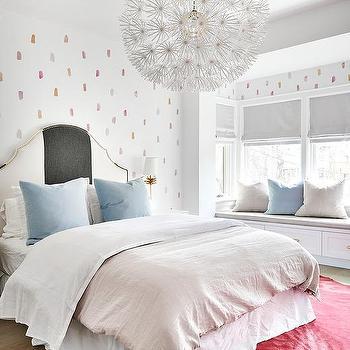 Marvelous Gray And Blue Velvet Bed Pillows On Striped Headboard