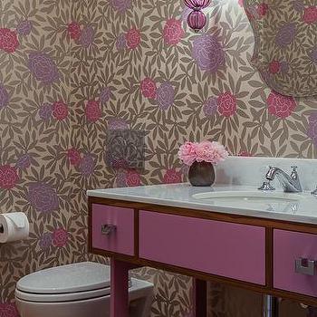 Purple Metallic Wallpaper Eclectic Dining Room Elle