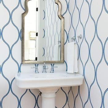 Silver And Blue Trellis Wallpaper With Wainscoting