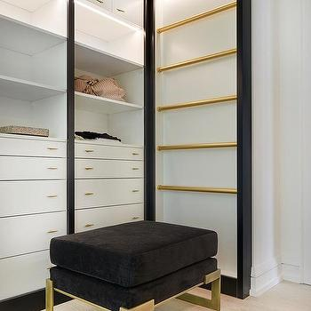Black Velvet Closet Ottoman With Brass Legs