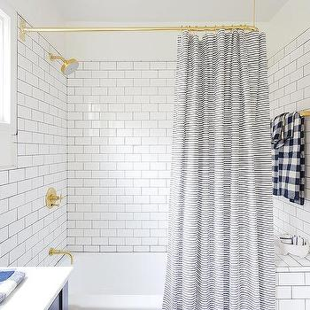 Polished Brass Shower Rail With Blue Striped Curtain