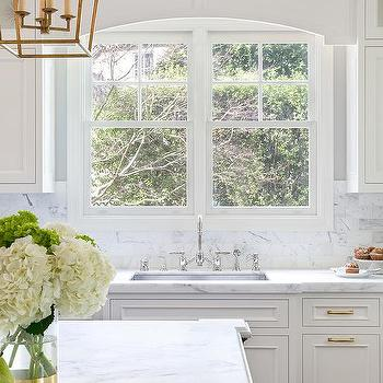 White Wood Cornice Box Over Kitchen Sink