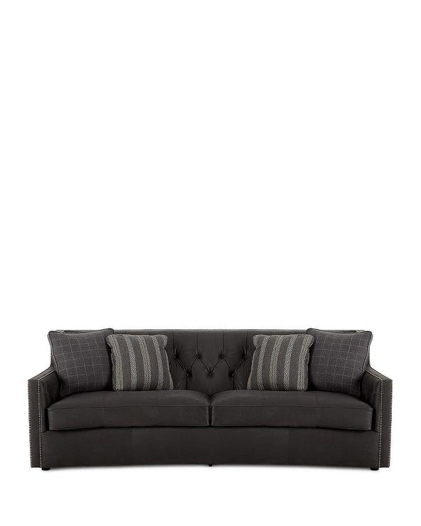 Incredible Bernhardt Madeline Gray Tufted Leather Sofa Interior Design Ideas Gentotthenellocom