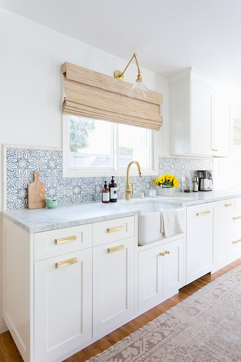 White And Blue Mosaic Backsplash Tiles Transitional
