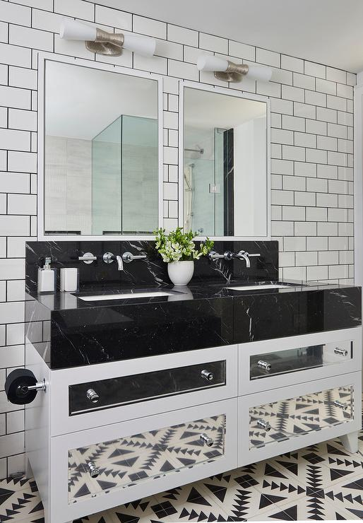Black and White Bath Vanity with Mirrored Drawers   Modern   Bathroom