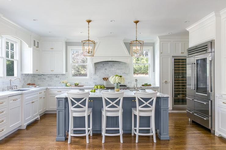 Blue Kitchen Island with White Wood X Back Counter Stools ...