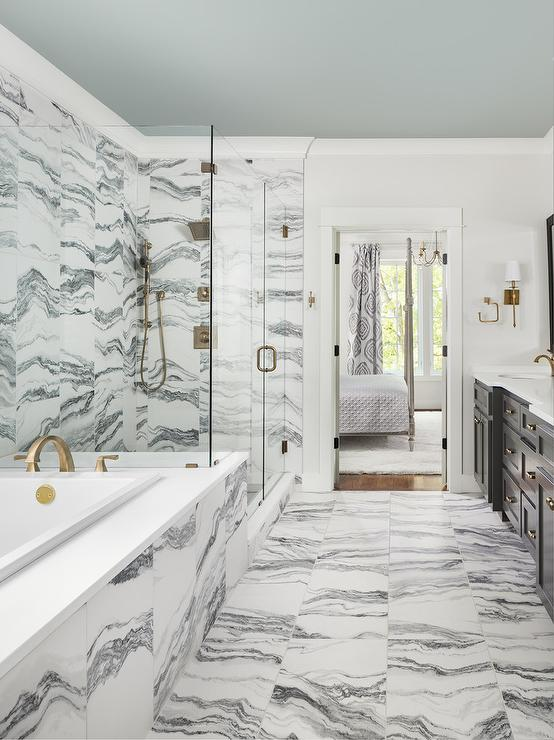 Gray And White Bedroom: Gray And White Marble Bath Tiles