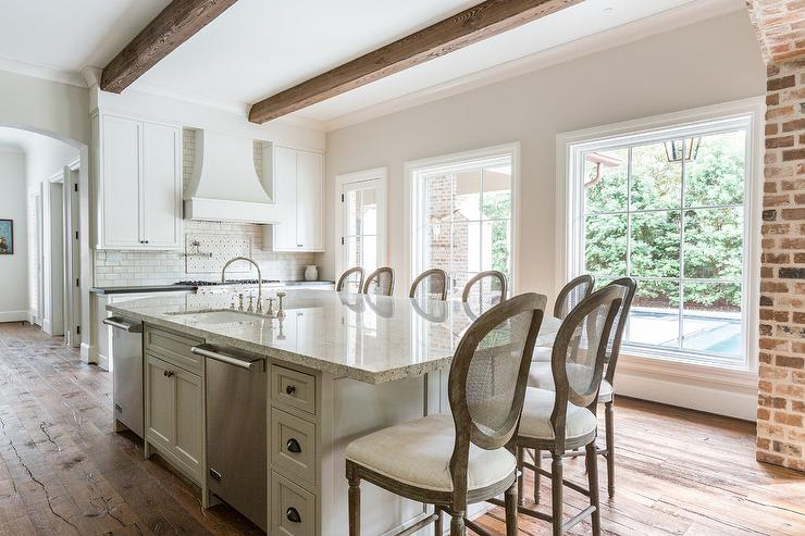 Gray Granite Island Countertop with French Cane Back Bar Stools & Gray Granite Island Countertop with French Cane Back Bar Stools ... islam-shia.org