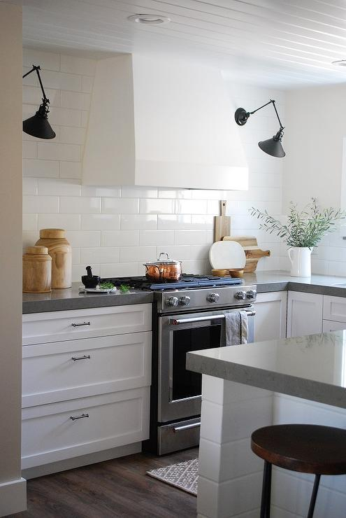 White Kitchen Vent Hood white kitchen vent hood with black swing arm sconces