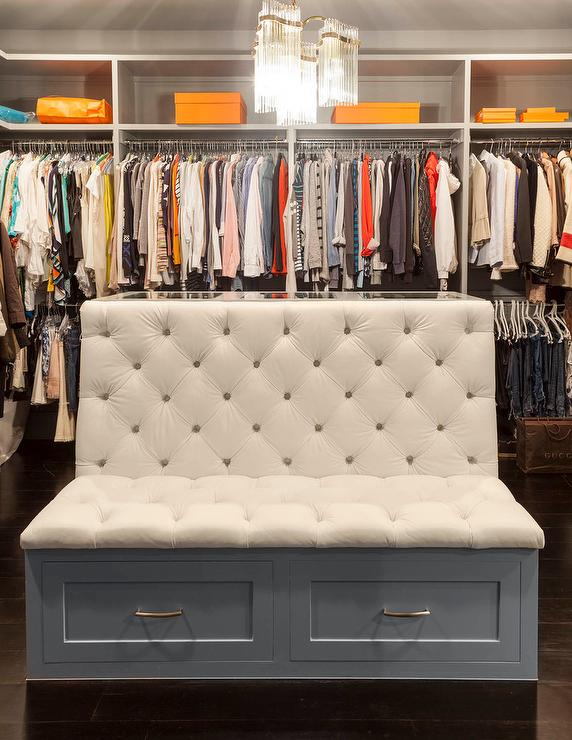 White Tufted Closet Bench With Gray Storage Drawers
